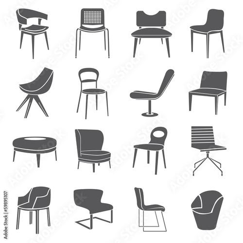 Fotografia chair set, furniture icon set