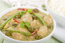 Thai Green Chicken Curry With Baby Aubergines Served With Rice