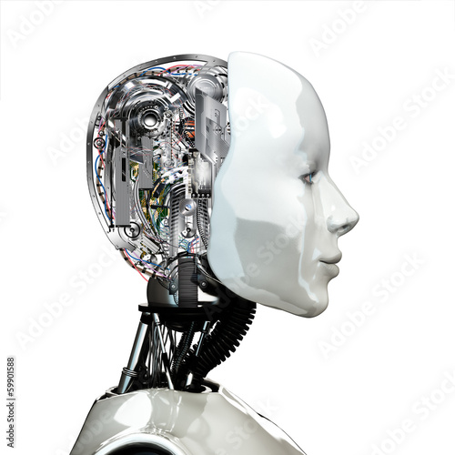 Photo  A robot woman head with internal technology