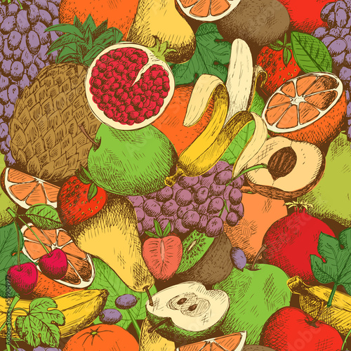 Naklejka na meble Bright juicy fresh fruits seamless pattern
