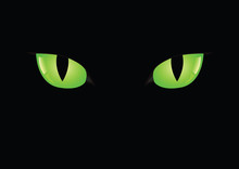 Black Cats Green Eyes On Black...