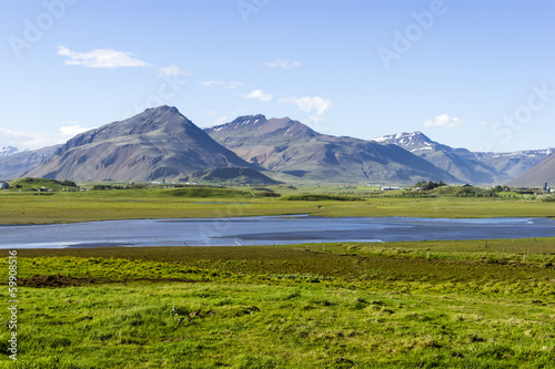 Deurstickers Noord Europa Beautiful lake against mountain background, Iceland, good summer