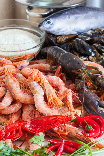 Poster Coquillage Fresh uncooked sea food specialties