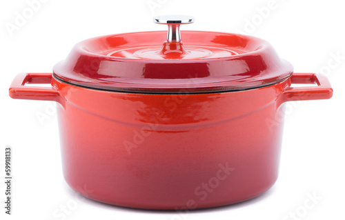Fotografie, Obraz  Red cooking pot with cover isolated on white background