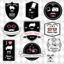 Collection Of Vintage Hipster Badges, Labels And Stamps, Vector