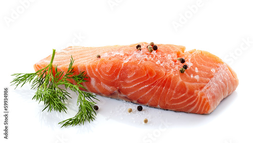 Stickers pour portes Poisson fresh raw salmon