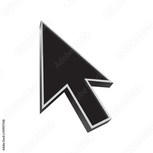 Fotografie, Obraz  cursor 3d icon black