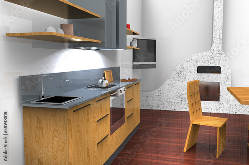 Cucina con caminetto - Buy this stock illustration and explore ...