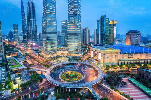 Fotografía  shanghai midtown in nightfall