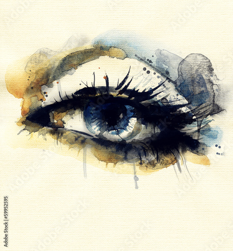 Juliste  Woman eye . Hand painted fashion illustration