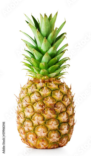 Ripe pineapple with green leaves Wallpaper Mural