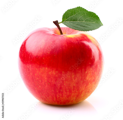 Ripe apple with leaf