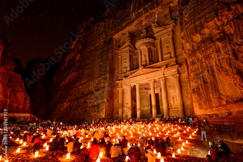 Obraz na plátne Al Khazneh in Petra, Jordan at night.