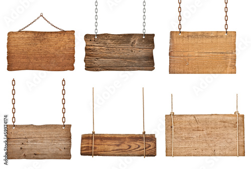 Fotografía  wooden sign background message rope chain hanging