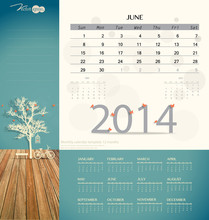 2014 Calendar, Monthly Calendar Template For June. Vector Illust