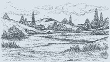 Vector Landscape. Village On The Lake In The Hills