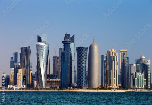Obraz na plátně  The West Bay City skyline of Doha, Qatar