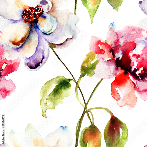 Seamless wallpaper with Decorative flower
