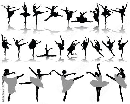 Leinwand Poster Silhouettes and shadows of ballerinas 2, vector