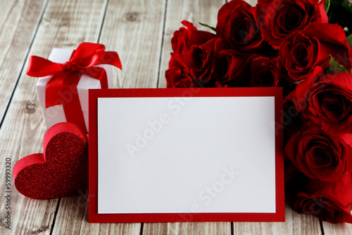 Fotografie, Obraz  card with roses
