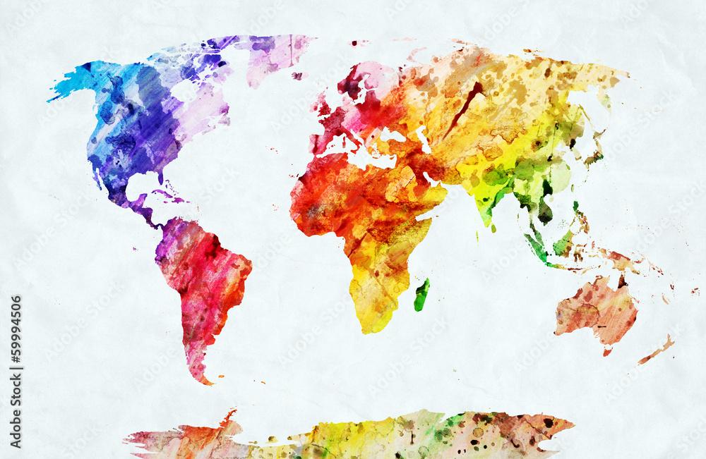 Fototapety, obrazy: Mapa świata akwarela