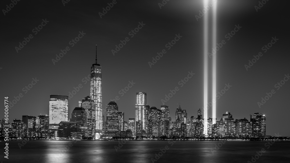 Fototapeta Tribute in Light, on September 11th, in New York City
