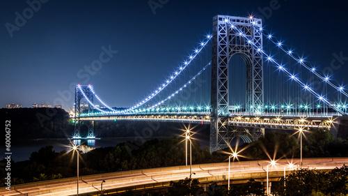 George Washington Bridge by night viewed from Manhattan