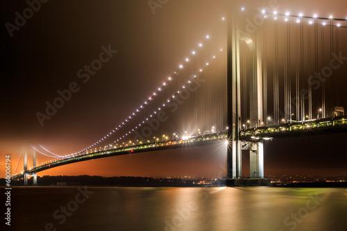 Verrazano-Narrows Bridge on a foggy night