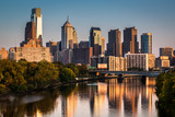 Philadelphia skyline reflected in Schuylkill River