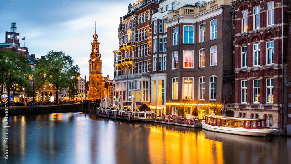 Fototapety, obrazy: Amsterdam cityscape with the Mint tower at dusk
