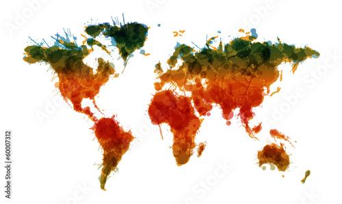 Obraz na plátně Grunge world map