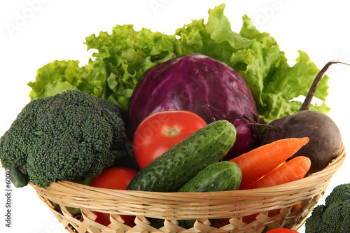 Fototapety, obrazy: Different vegetables in basket isolated on white