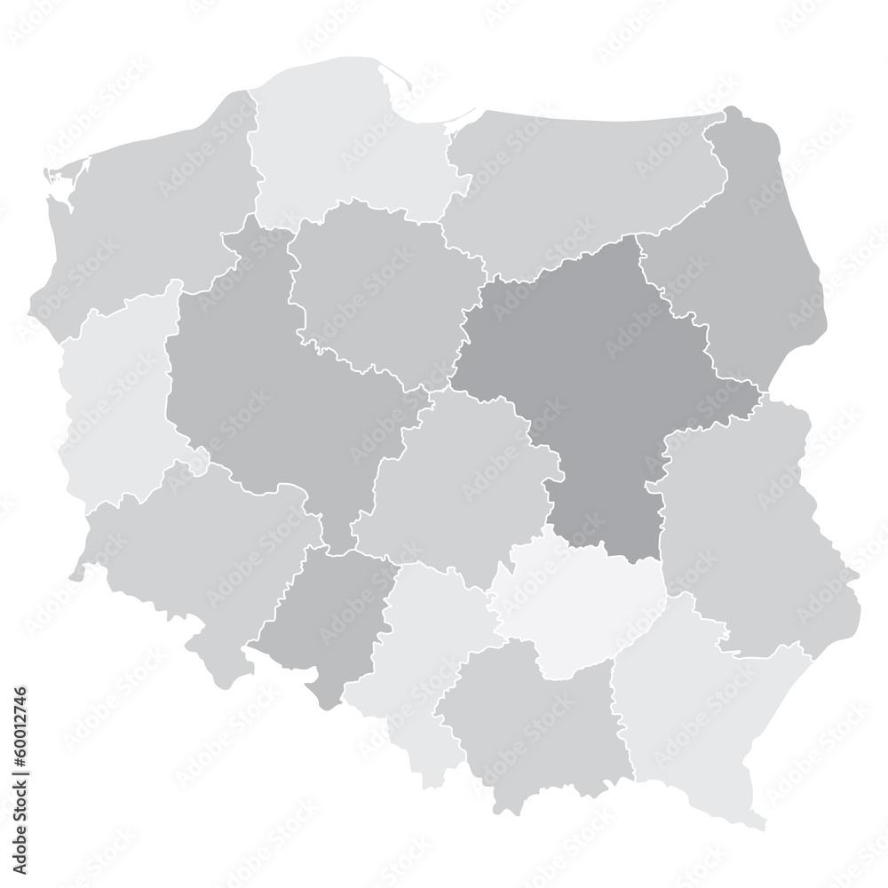 Polen Karte Umriss.Karte Von Polen Mit Woiwodschaften Foto Poster Wandbilder