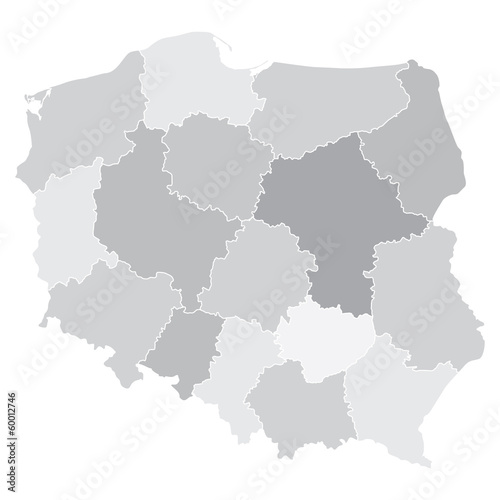 map of Poland with voivodeships Tablou Canvas