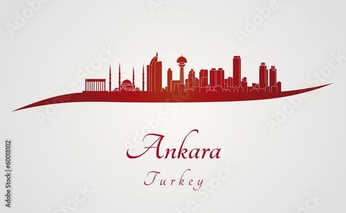 Photo Ankara skyline in red