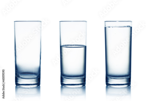 Obraz Empty,half and full water glasses . Isolated on white - fototapety do salonu