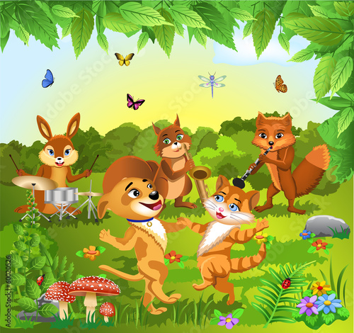 animals dancing and playing music #60020526