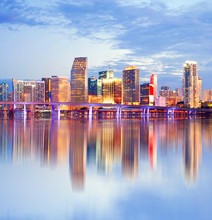 City Of Miami Florida, Sunset Skyline.