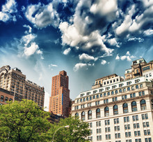 Ancient Buildings In New York. Classic Architecture With Trees O