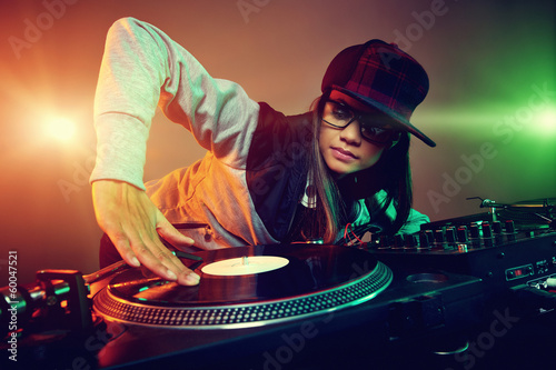 trendy dj spinning decks Canvas Print