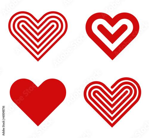 Fotografia  Heart logo design collection. Valentine's day. Love, Cardio icon