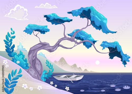 Printed kitchen splashbacks Purple Romantic landscape with tree and water.