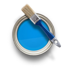 Paint Can With Brush Isolated ...