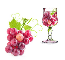 Grapes In Glass Isolated On Wh...