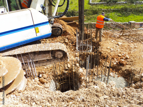Foundation piles drilling machine and steel reinforcement