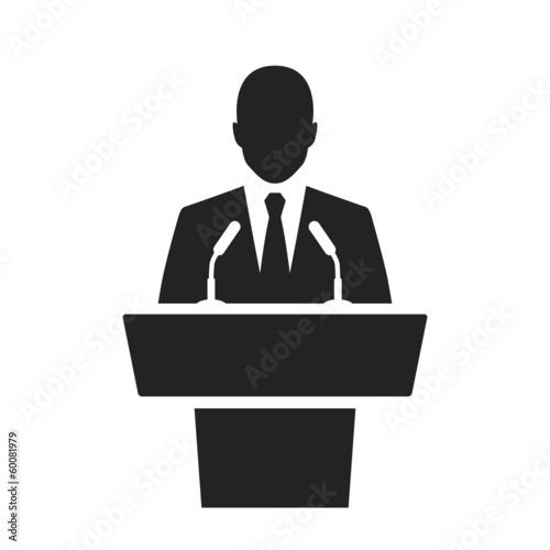 Cuadros en Lienzo speaker black icon. orator speaking from tribune