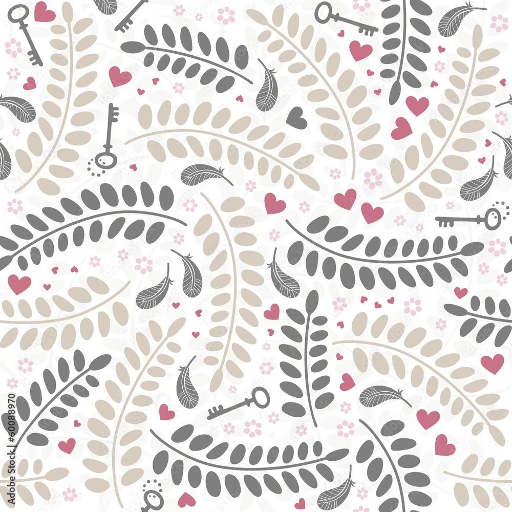 Fototapeta klucze kwiaty liście pióra kolorowy deseń na białym tle