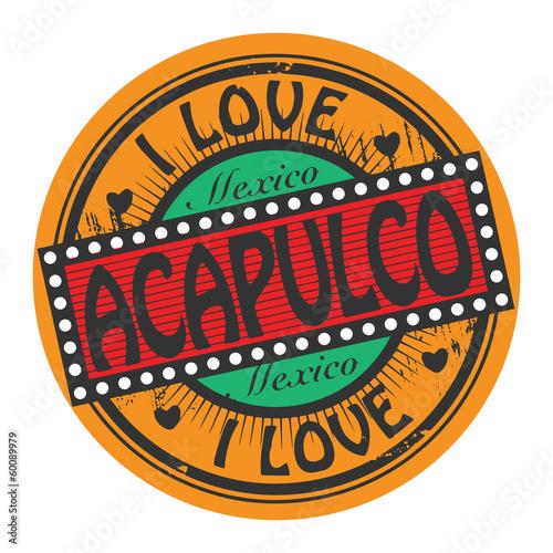 Fotografija  Grunge color stamp with text I Love Acapulco inside