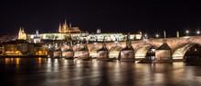 Panorama Of Prague Castle And Charles Bridge At Night