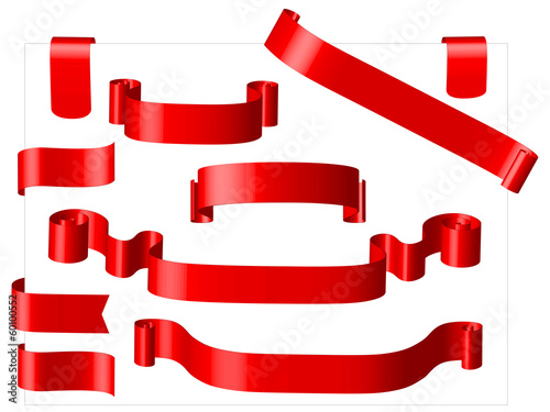 Fotografía  BANNIERES DECORATIVES ROUGES (rubans banderoles decorations)